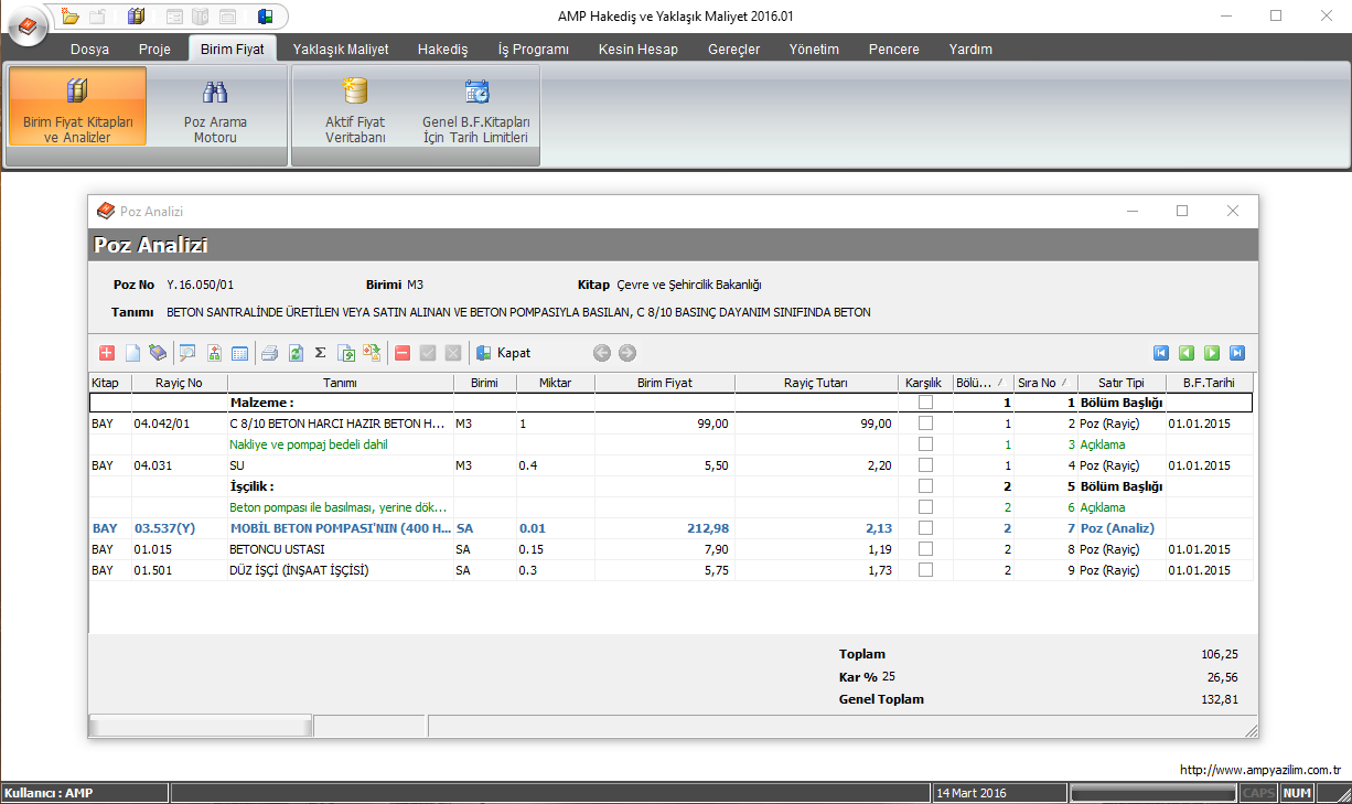 AMP Yazılım hakediş programından bir analiz örneği.