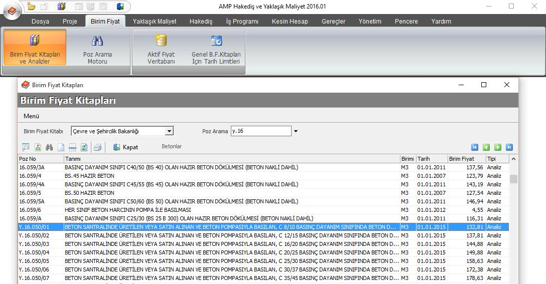 AMP Yazılım hakediş programından birim fiyat listesi örneği.